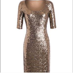 Joanna Hope sequin gold dress short sleeve 14